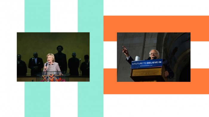 Collage by Ruby Aitken, using a photos of Hillary Clinton and Bernie Sanders via The New York Times.