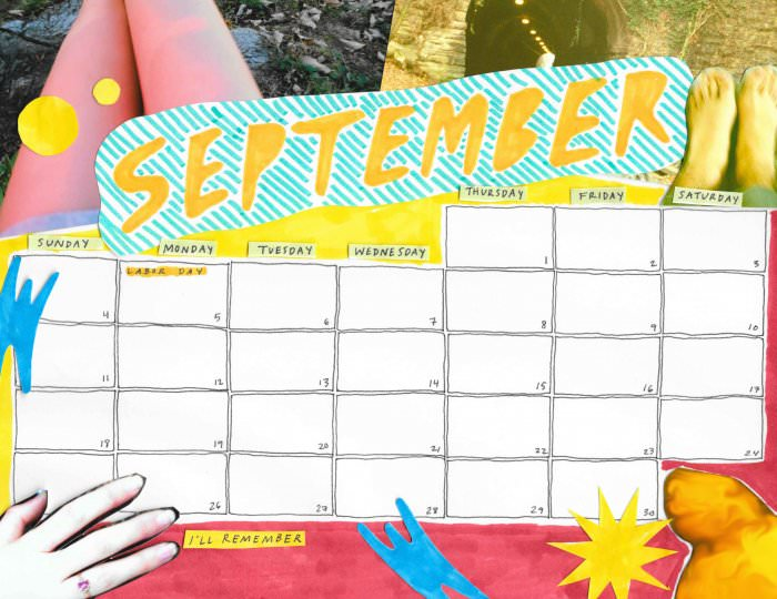 Corrinne James-September calendar (Saturday Printable)