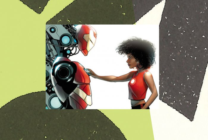 Collage by Ruby Aitken, using an image of Ironheart via Marvel Comics.