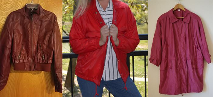 From left: Vintage faux leather bomber, $15, Etsy; vintage nylon jacket (price unlisted), Etsy; vintage polyester jacket, $13, Etsy.