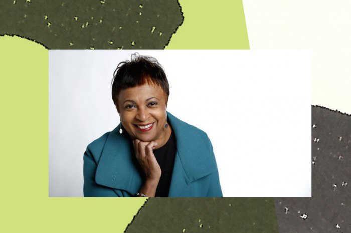 Collage by Ruby Aitken, using a photo of Carla Hayden via Vox.
