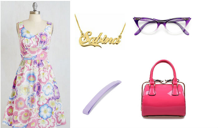 Clockwise from left: Petal Than Ever dress, Modcloth, $35.99, nameplate necklace, ONecklace.com, $48.95, purple cat eye glasses, Zero UV, $9.99, purse, Unique Vintage, $44, pastel hair slides, ASOS, $4.50
