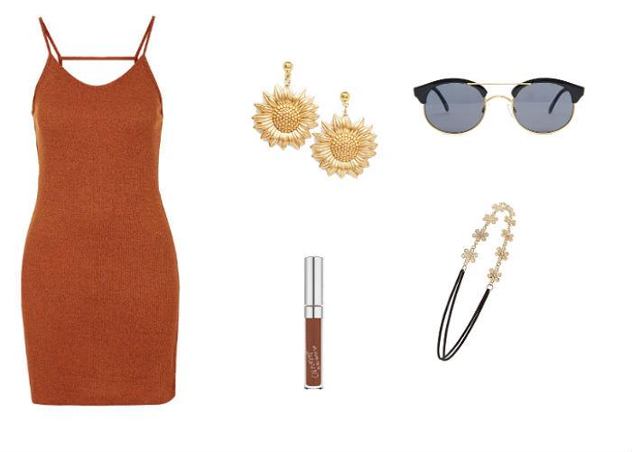 Clockwise from left: dress, Topshop, $20, sunflower earrings, ASOS, $26, sunglasses, ASOS, $27, headband, Forever 21, $3.90, Colourpop Lipstick in Limbo, $6