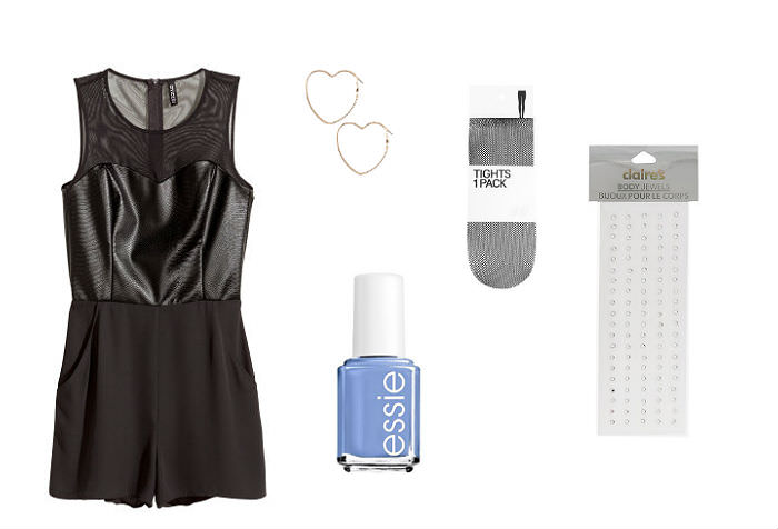 Clockwise from left: Sleeveless jumpsuit, H&M, $34.99, heart earrings, Forever 21, $3.90, fishnets, H&M, 9.99, Body gems, Claire's, $5, Essie nail polish in Pret-A-Surfer, Kohl's, $8.50