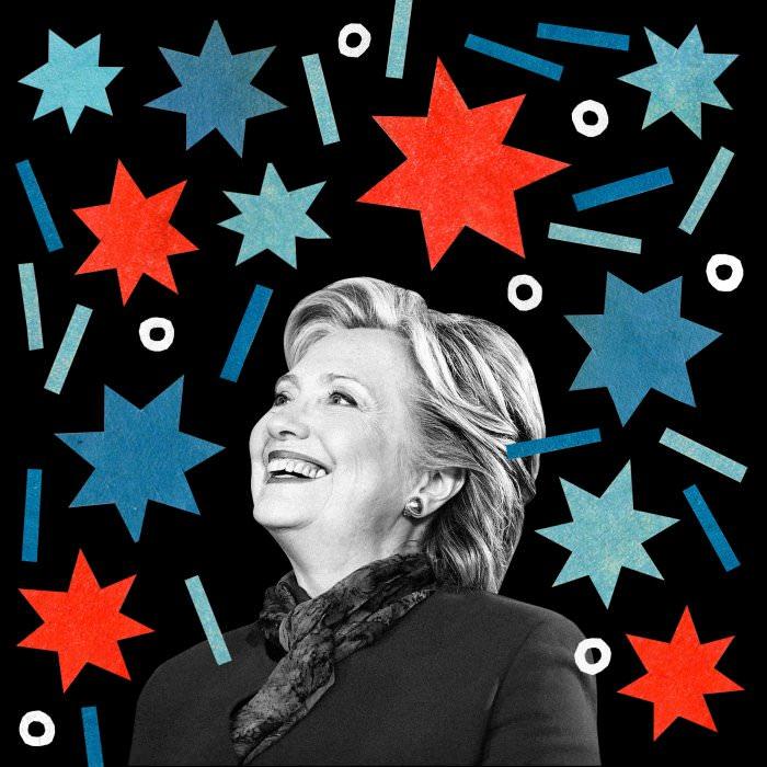 Collage by Emma Dajska, using a photo courtesy Hillary for America.