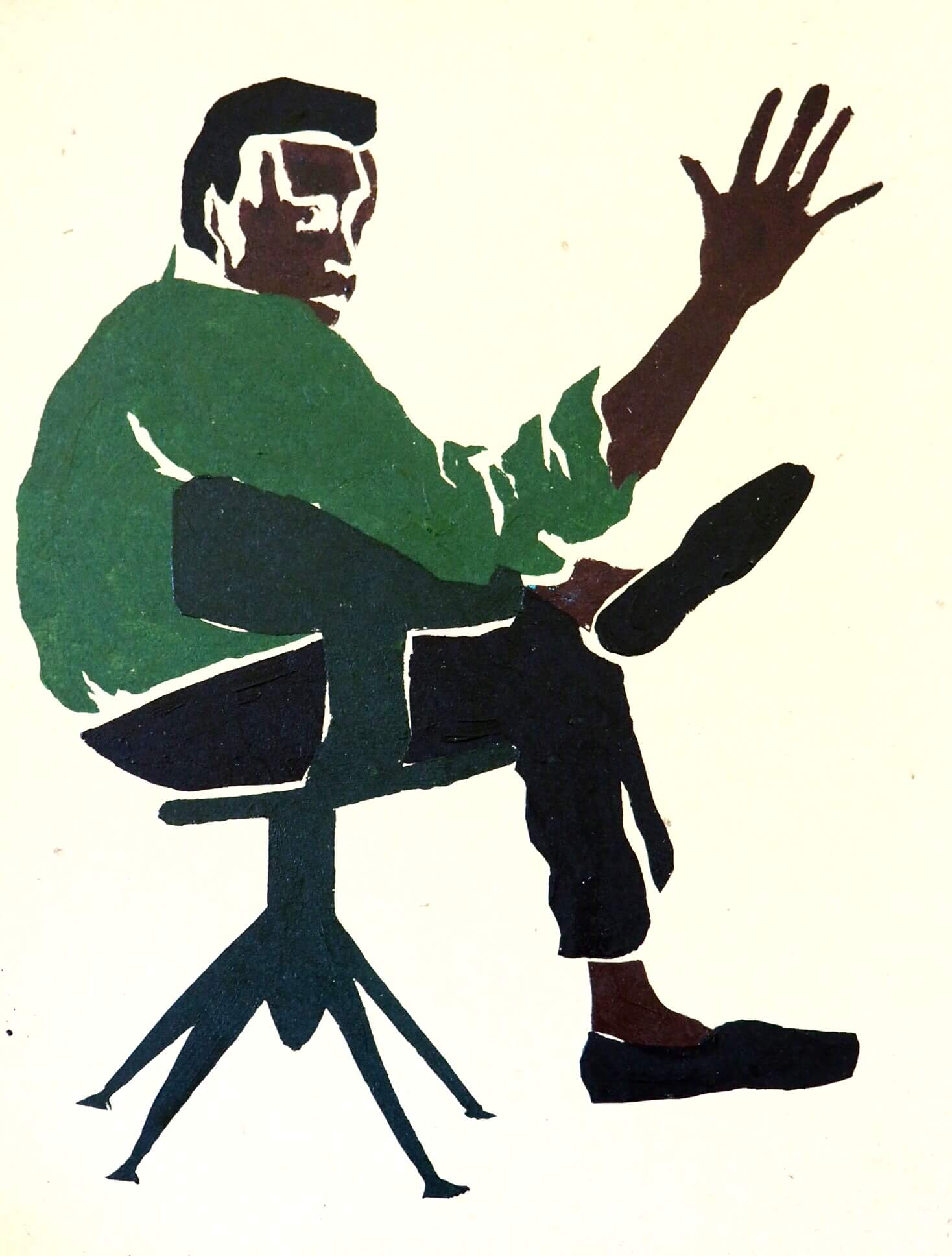 Jazz hands from Miles. (Based on a photograph by Tom Palumbo) —Ella