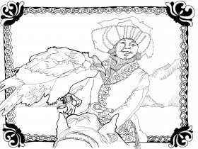 <em>The Eagle Huntress</em> Coloring Page