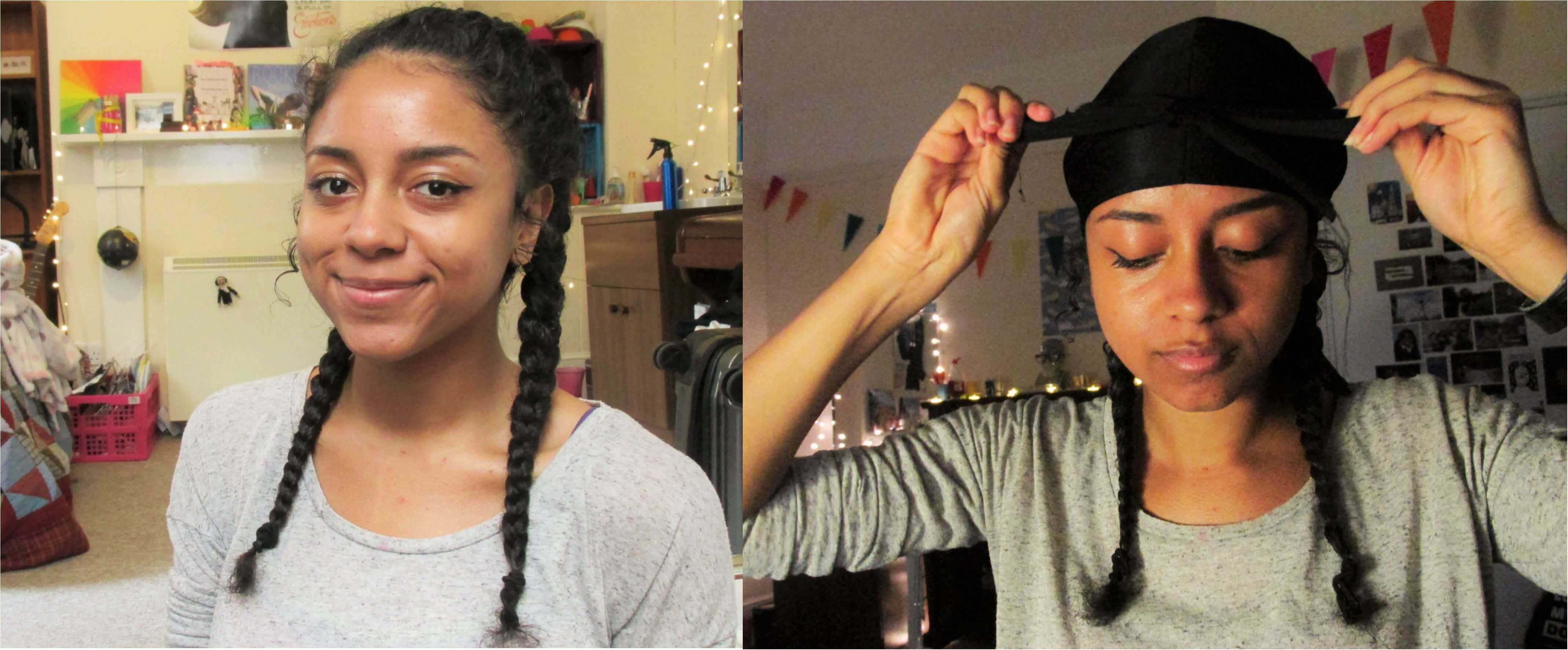 Braidout step 4 - wait to dry and durag